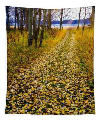 Leaves On Trail Tapestry
