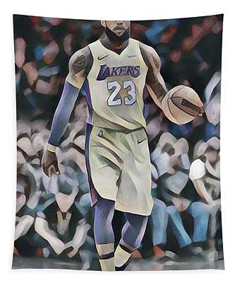 2f5c3bf2e3e Lebron James Los Angeles Lakers Abstract Art 1 Tapestry