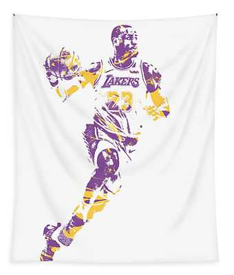 Lebron James Los Angeles Lakers Pixel Art 2 Tapestry