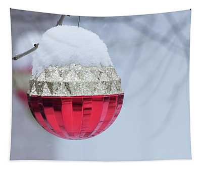 Let It Snow On The Red Christmas Ball - Outside Winter Scene  Tapestry