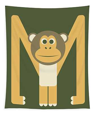 Letter M - Animal Alphabet - Monkey Monogram Tapestry