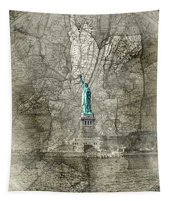 Liberty Map Sepia Tapestry