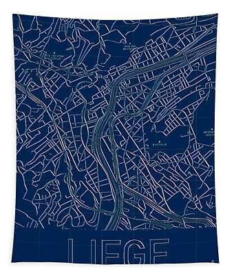 Tapestry featuring the digital art Liege Blueprint City Map by Helge