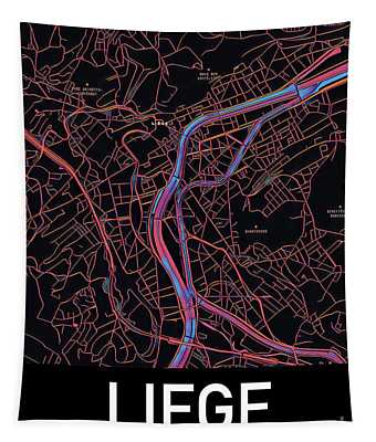 Tapestry featuring the digital art Liege City Map by Helge