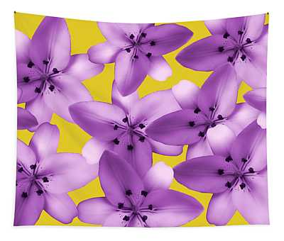 Light Purple Lilies On Yellow Tapestry