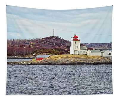 Tyrhaug Fyr Lighthouse Near Kristiansund Norway Tapestry