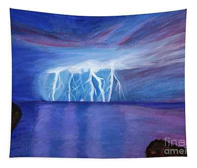 Lightning On The Sea At Night Tapestry