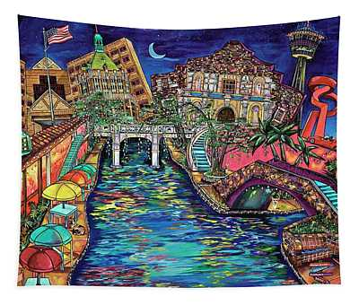 Lights On The Banks Of The River Tapestry