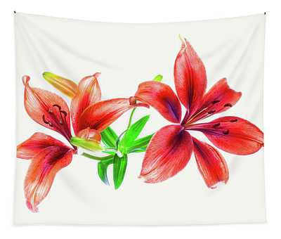 Lilies Against White Background Tapestry