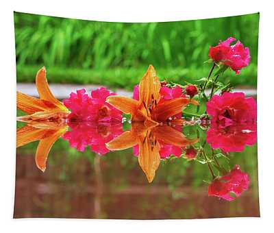 Lilies And Roses Reflection Tapestry
