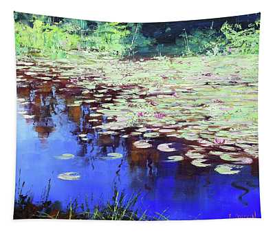 Lilies On Blue Water Tapestry