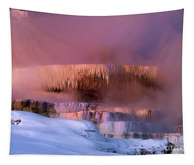 Limestone Artwork Minerva Springs Yellowstone National Park Tapestry