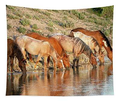 Lineup At The Pond-- Wild Horses Tapestry
