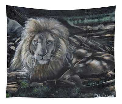 Lion In Dappled Shade Tapestry