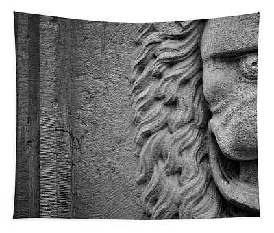 Lion Statue Portrait Tapestry
