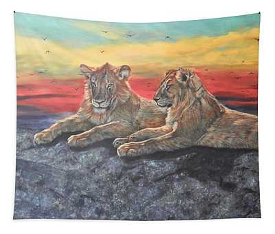 Lion Sunset Tapestry
