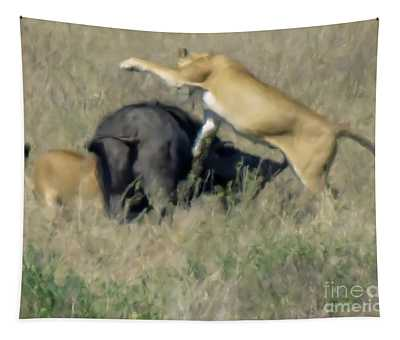 Lionesses Hunting A Wildebeest C2 Tapestry