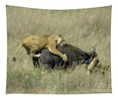 Lionesses Hunting A Wildebeest C4 Tapestry