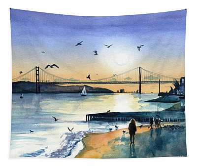 Lisbon 25 Abril Bridge At Dusk Tapestry
