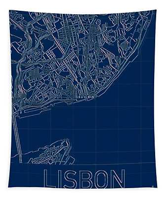 Lisbon Blueprint City Map Tapestry