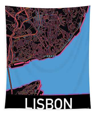 Lisbon City Map Tapestry