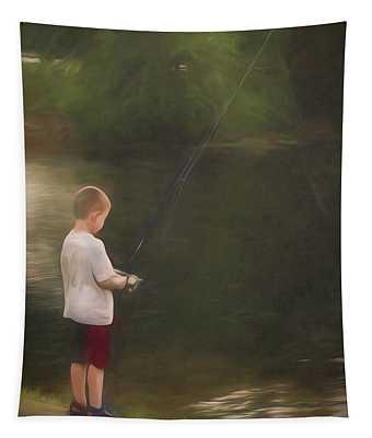 Little Boy Fishing Tapestry