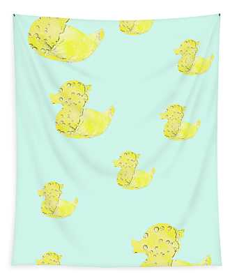 Little Ducks In Mint Green And Yellow Tapestry