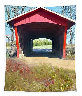 Little Red Covered Bridge Tapestry
