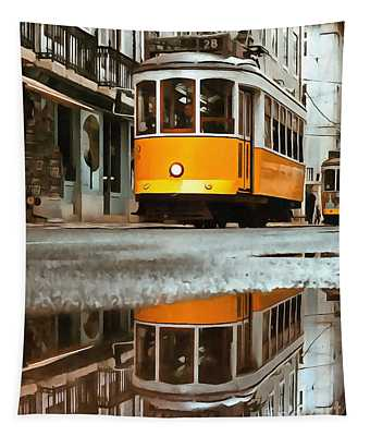 Little Yellow Trolley Tapestry