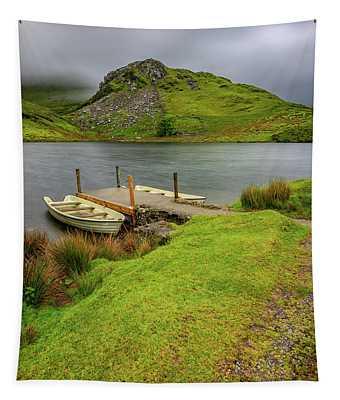 Llyn Y Dywarchen Boats Snowdonia Tapestry