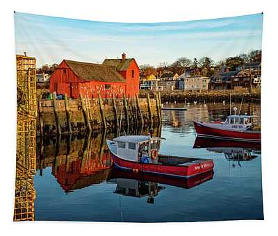 Lobster Traps, Lobster Boats, And Motif #1 Tapestry