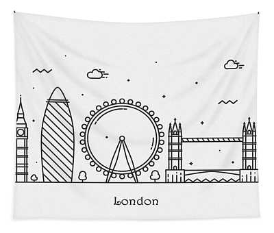 London Cityscape Travel Poster Tapestry
