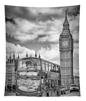 London Houses Of Parliament And Traffic Tapestry