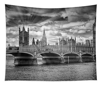 London Westminster Bridge Sunrays - Monochrome Tapestry