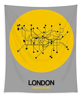 London Yellow Subway Map Tapestry