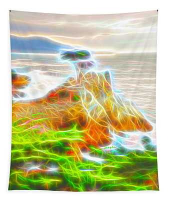 Lone Cypress Electrified  Tapestry