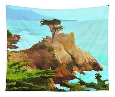 Lone Cypress Watercolor Rendention Tapestry