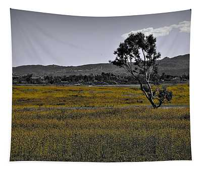Lone Tree In Yellow Wildflowers Tapestry