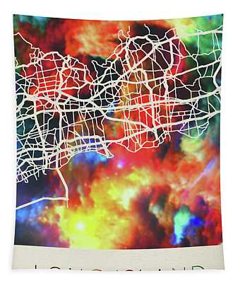 Long Island New York Watercolor City Street Map Tapestry