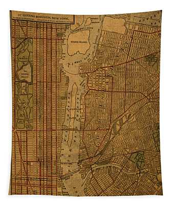 Long Island Section Queens New York Vintage City Street Map 1911 Tapestry