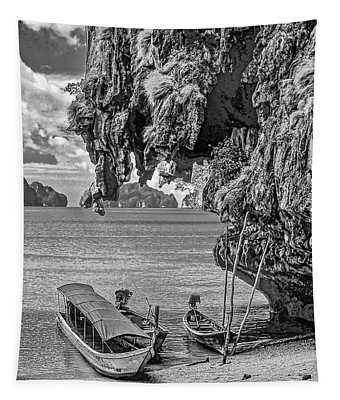 Longtail Boats - Phang Nga Bay - Thailand Bw Tapestry