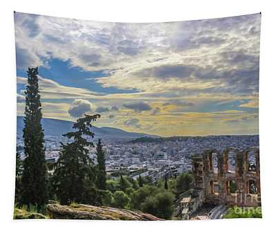 Looking Out Over The Cityscape Of Athens And Over The Odeon Of Herodes Atticus From The Acropolis Ne Tapestry