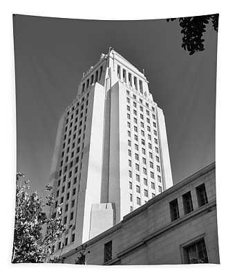 Los Angeles City Hall Black White  Tapestry