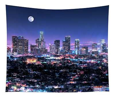 Los Angeles Skyline At Night Tapestry