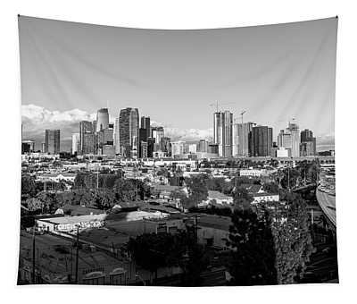 Los Angeles Skyline Looking East 2.9.19 - Black And White Tapestry