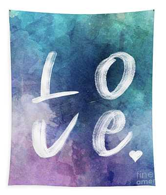Love Watercolor In A Blue Square Tapestry