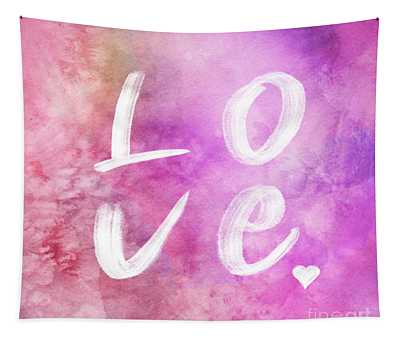 Love Watercolor In A Pink Square Tapestry