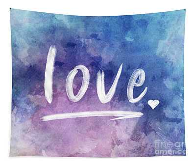 Love Watercolor In Blue Tapestry