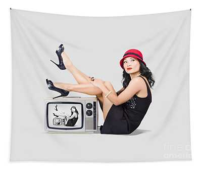 Lovely Asian Pinup Girl Posing On Vintage Tv Set Tapestry