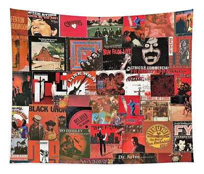 Lps In Shades Of Red Collage 6 Tapestry